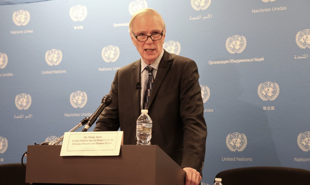 Philip Alston giving a press conference in Washington, DC following his visit to the United States in December 2017