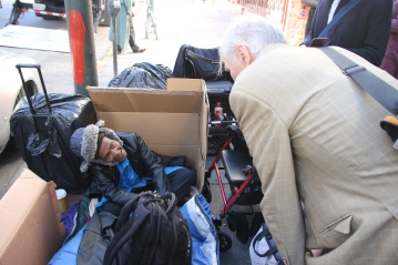 An elderly woman who is homeless in San Francisco sharing her story with the Special Rapporteur, USA visit December 2017. © Anna Bulman 2017