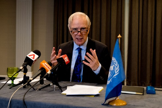 The Special Rapporteur holds a press conference in Kuala Lumpur. © Bassam Khawaja 2019